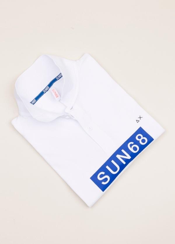 Polo SUN 68 blanco print logo
