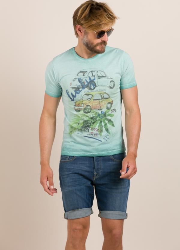 Camiseta BOB estampado vintage turquesa
