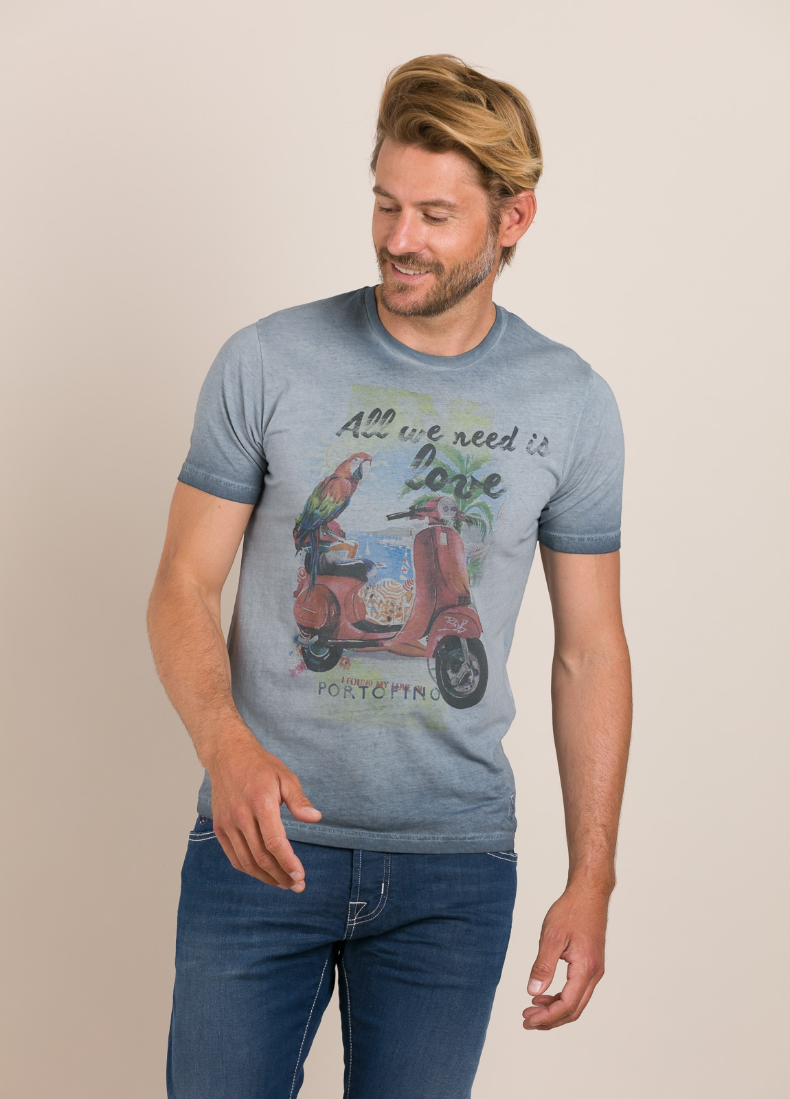 Camiseta BOB estampado vintage azul