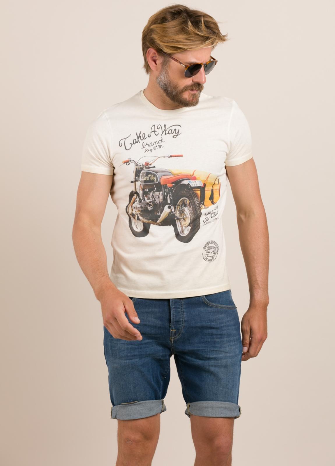 Camiseta TAKE A WAY dibujo vintage moto