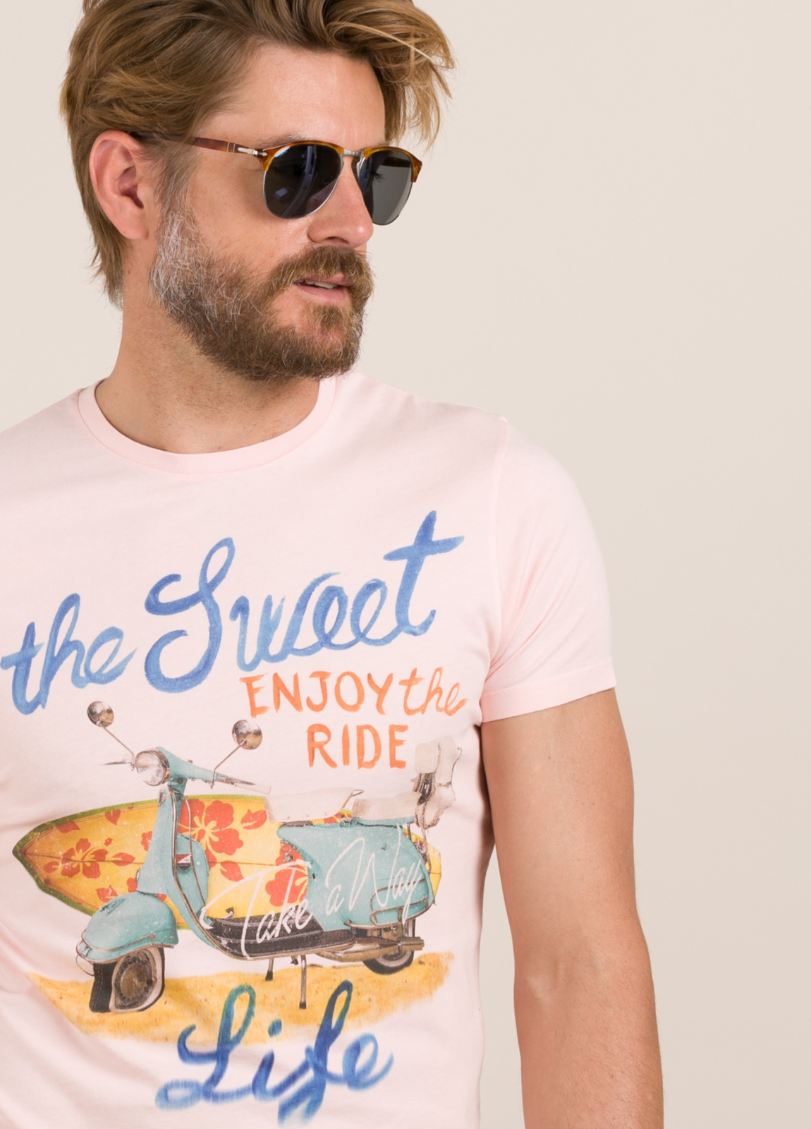 Camiseta TAKE A WAY dibujo vintage surf rosa - Ítem1