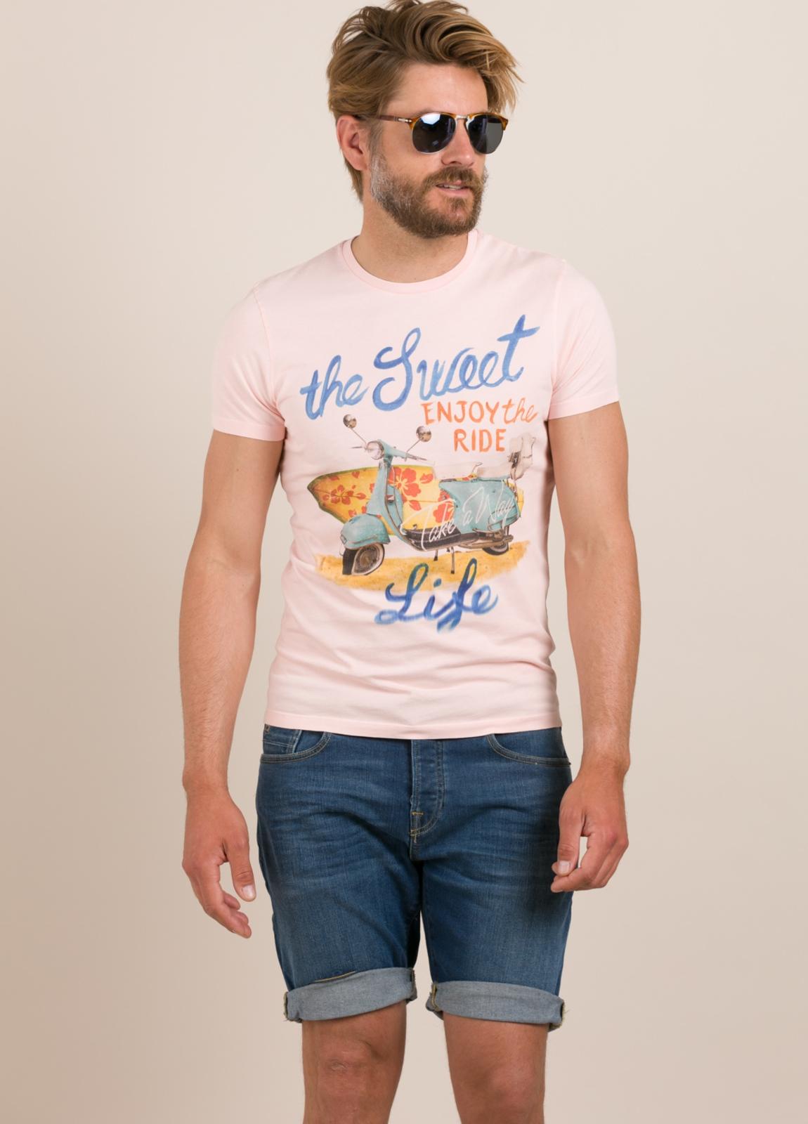 Camiseta TAKE A WAY dibujo vintage surf rosa