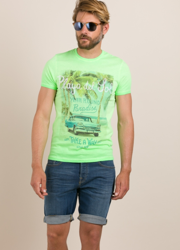 Camiseta TAKE A WAY dibujo vintage verde