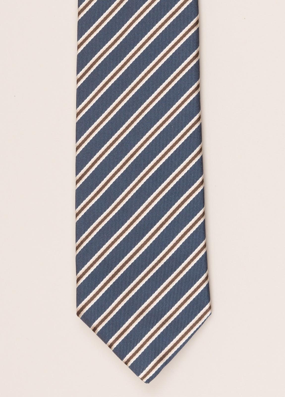 Corbata FUREST COLECCIÓN rayas azul y marrón