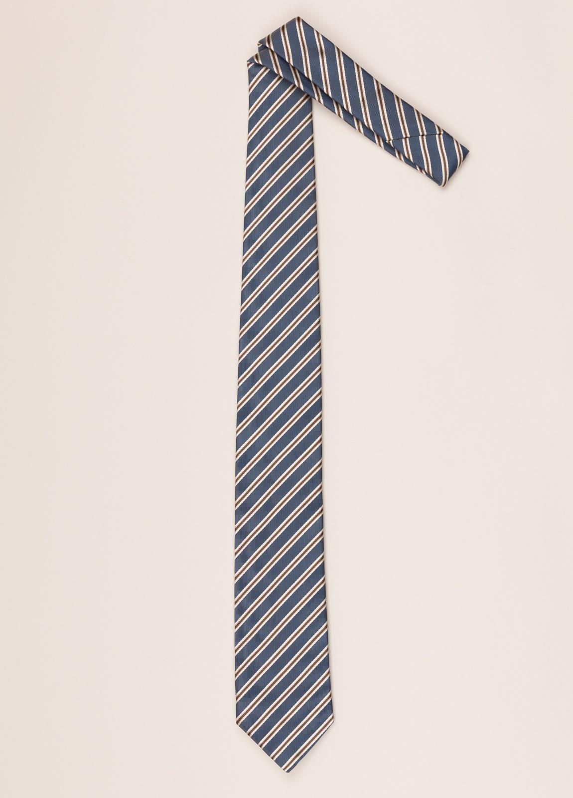 Corbata FUREST COLECCIÓN rayas azul y marrón - Ítem1