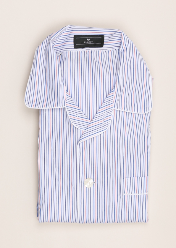 Pijama corto FUREST COLECCIÓN rayas azul y rojo