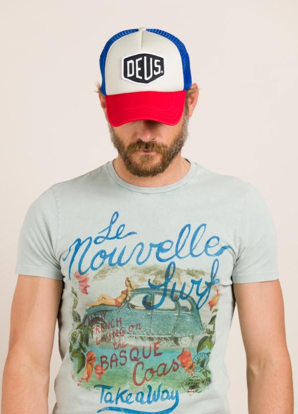 Gorra DEUS rojo, azul y blanco