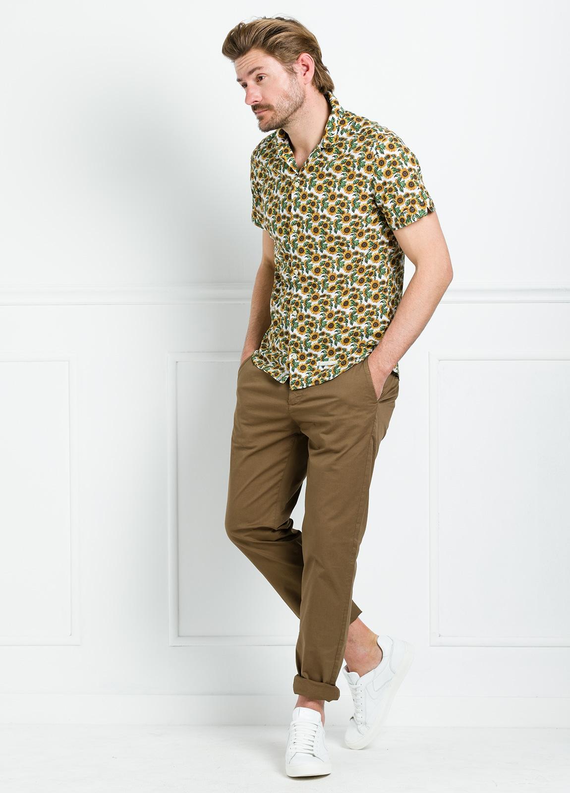 Camisa sport SLIM FIT con estampado floral color amarillo. 100% Algodón. - Ítem2