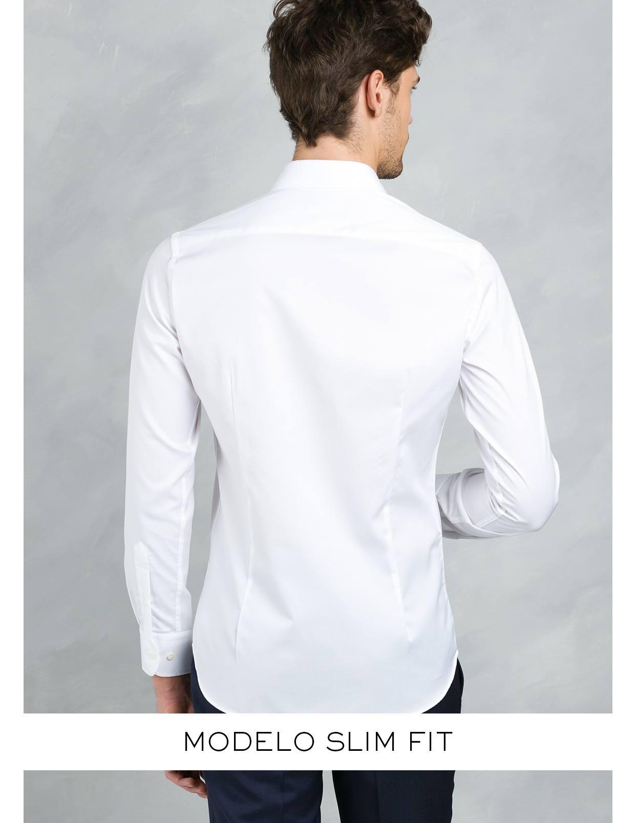 Camisa Formal Wear SLIM FIT cuello italiano modelo ROMA tejido micrograbado color blanco, 100% Algodón. - Ítem4