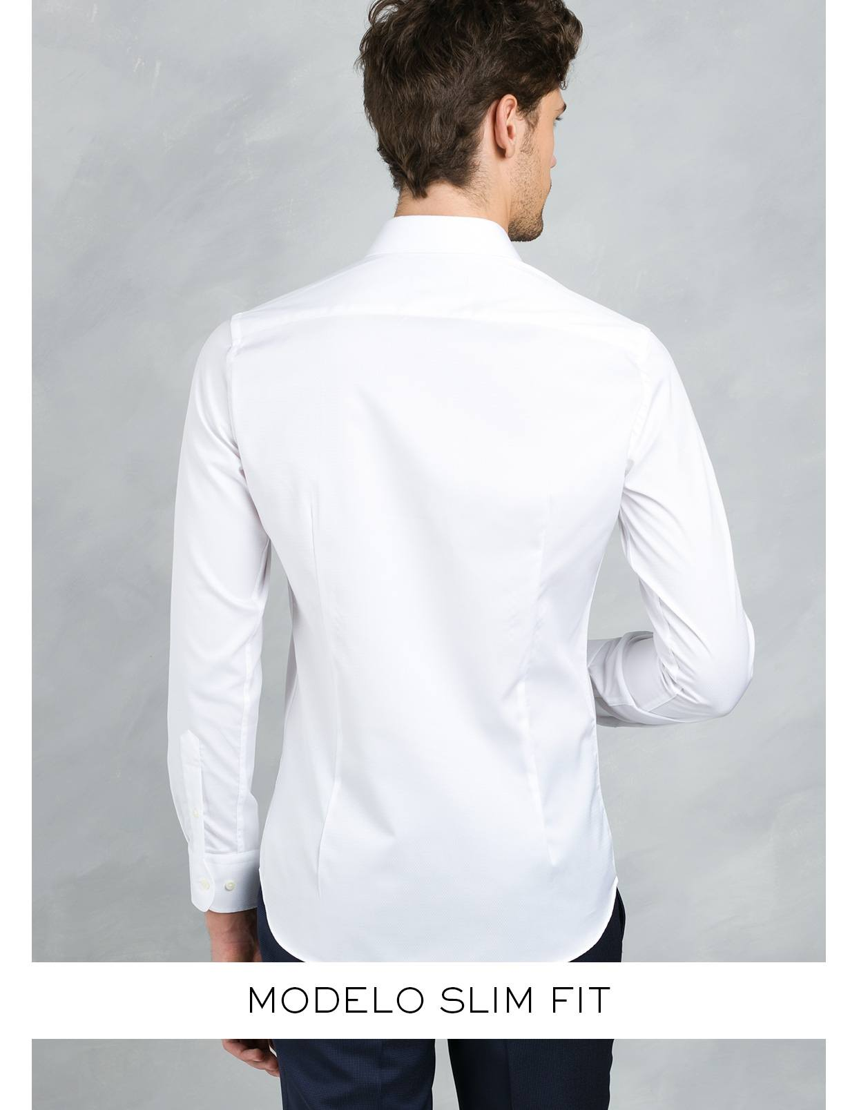 Camisa Formal Wear SLIM FIT cuello italiano modelo ROMA microtextura color blanco, 100% Algodón. - Ítem4