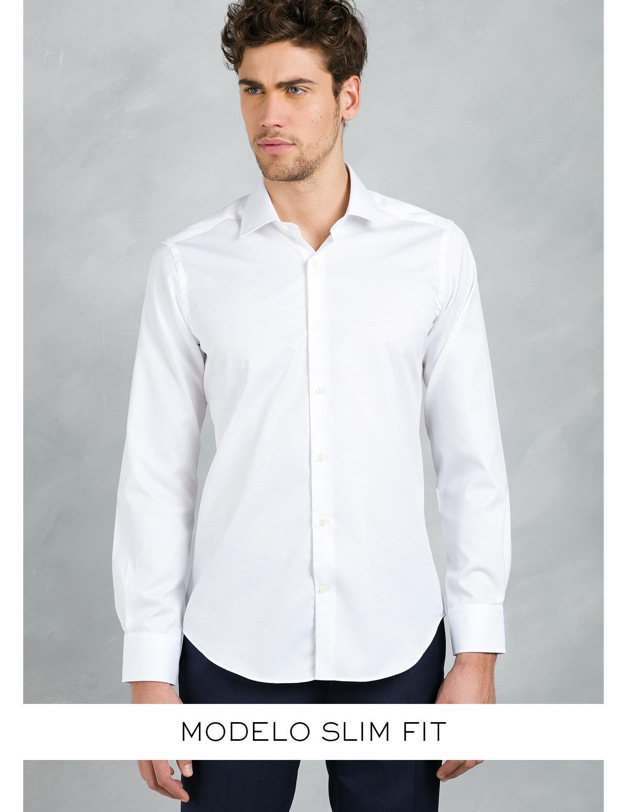 Camisa Formal Wear SLIM FIT cuello italiano modelo ROMA tejido micrograbado color blanco, 100% Algodón. - Ítem3