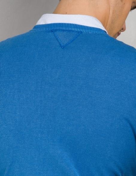 Jersey cuello pico color azulón con coderas, 100% Algodón. - Ítem3