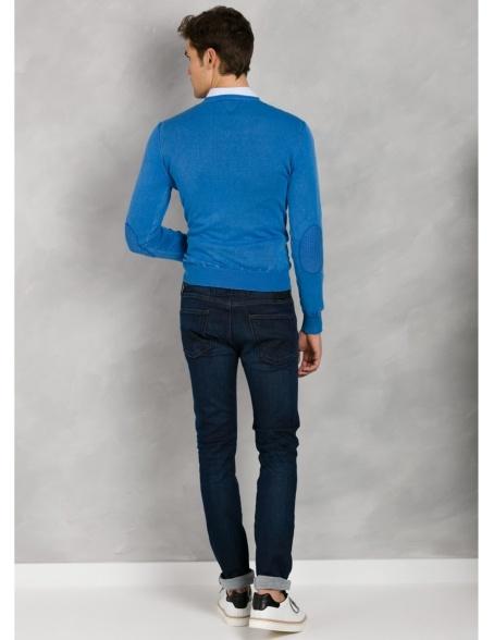 Jersey cuello pico color azulón con coderas, 100% Algodón. - Ítem2