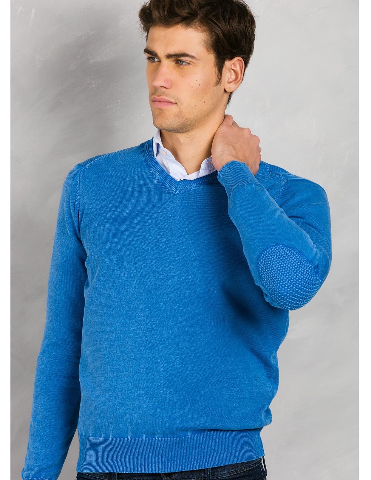 Jersey cuello pico color azulón con coderas, 100% Algodón. - Ítem1