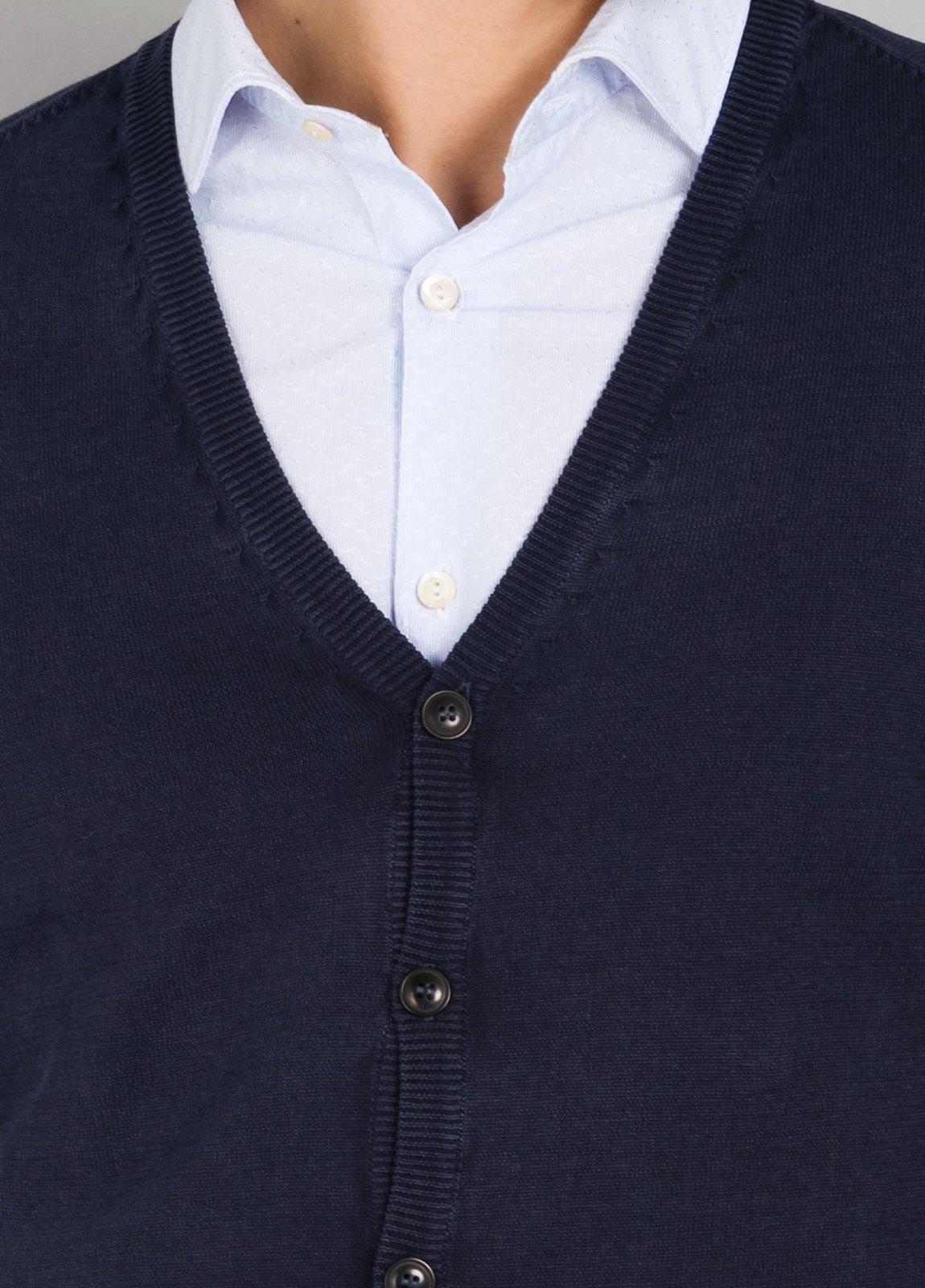 Cardigan con botones y coderas color azul marino, 100% Algodón. - Ítem3