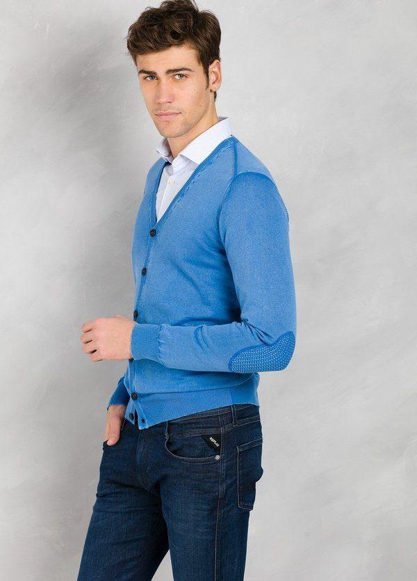 Cardigan con botones y coderas, color azulón, 100% Algodón. - Ítem3