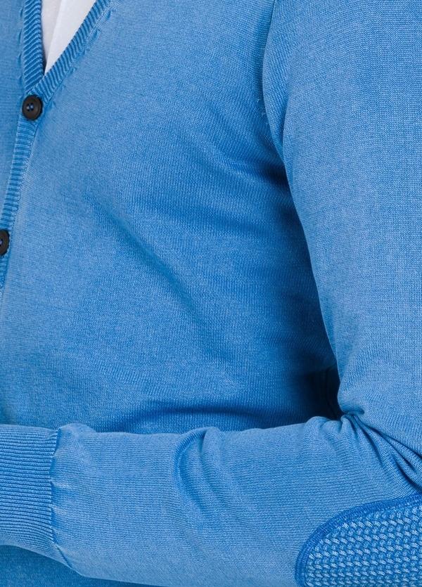 Cardigan con botones y coderas, color azulón, 100% Algodón. - Ítem1
