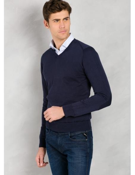 Jersey cuello pico color azul marino con coderas, 100% Algodón. - Ítem3
