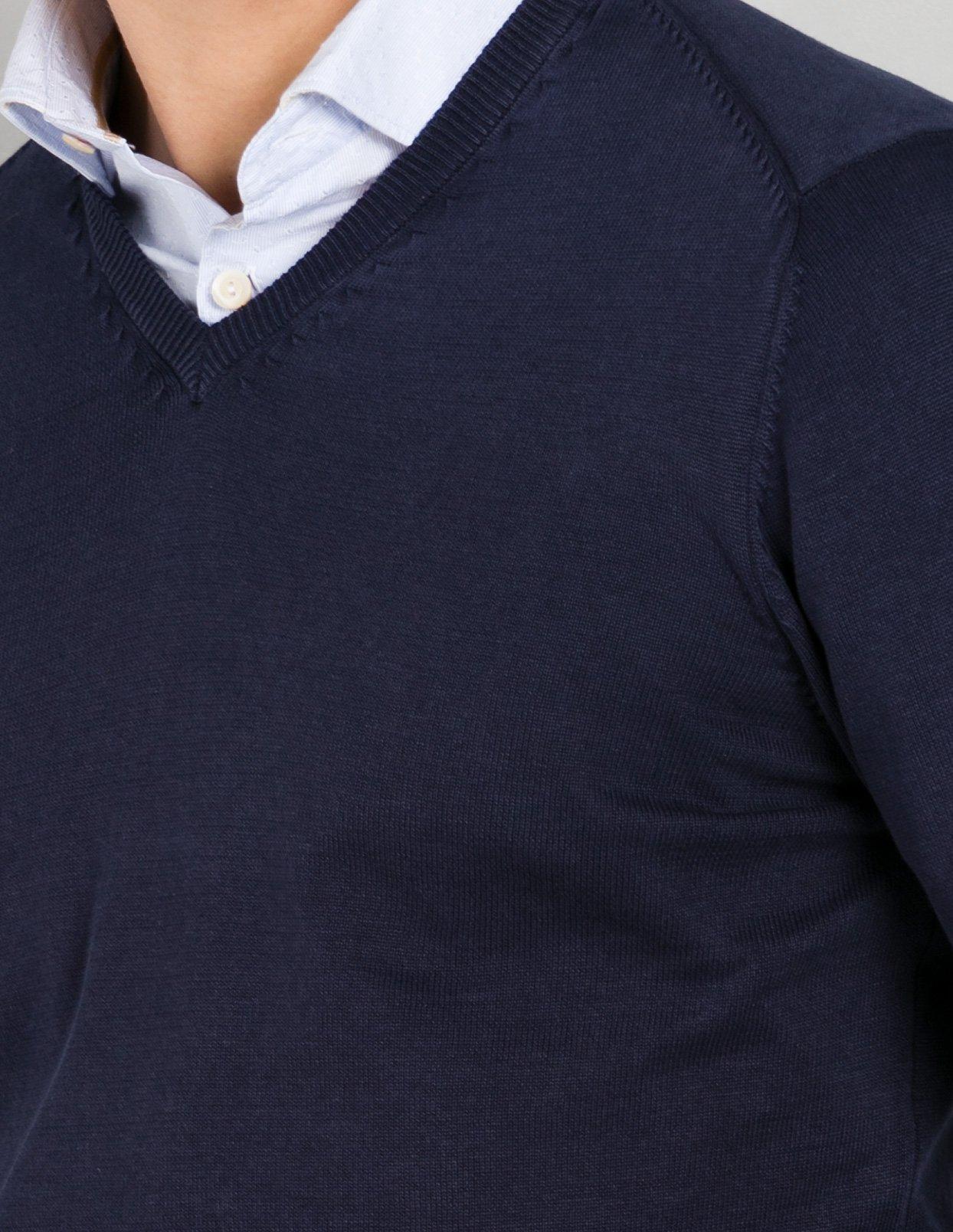 Jersey cuello pico color azul marino con coderas, 100% Algodón. - Ítem1