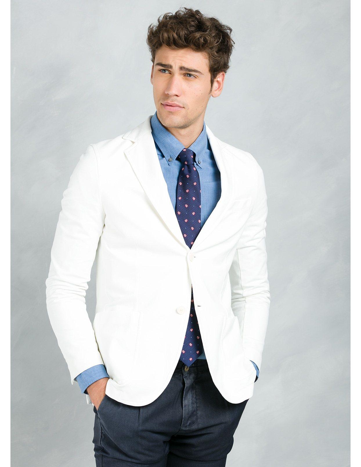 Americana soft 2 botones SLIM FIT color blanco, 95% Algodón 5% Elastán. - Ítem1
