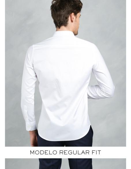 Camisa Formal Wear REGULAR FIT cuello italiano modelo TAILORED NAPOLI tejido color blanco, 100% Algodón. - Ítem4