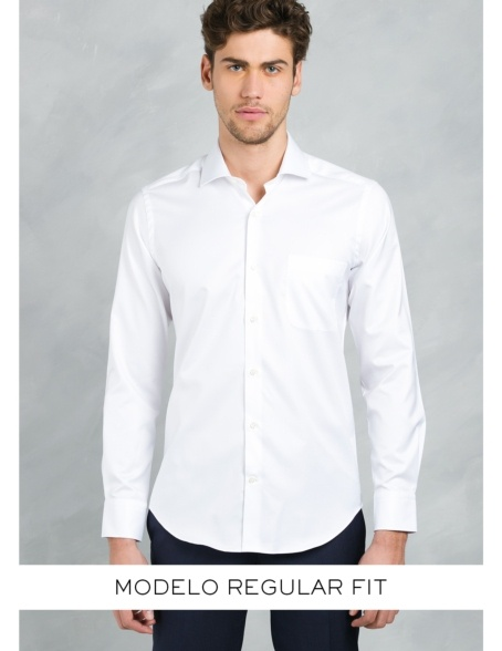 Camisa Formal Wear REGULAR FIT cuello italiano modelo TAILORED NAPOLI tejido color blanco, 100% Algodón. - Ítem3