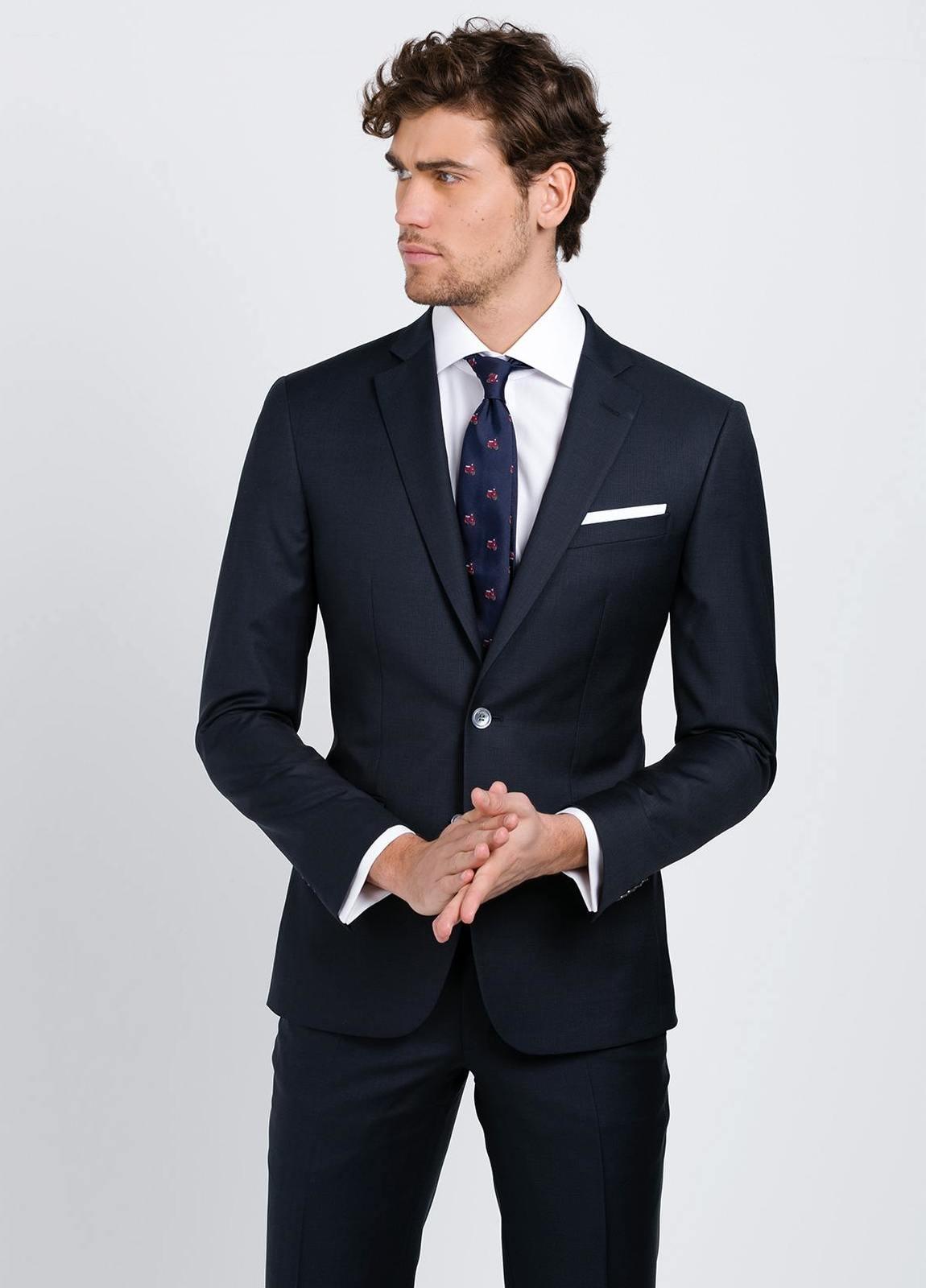 Traje liso SLIM FIT, tejido GUABELLO, color azul marino, 100% Lana fría. - Ítem4