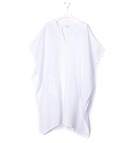 Top modelo HOTEL oversize tipo túnica color blanco, 100% Lino.