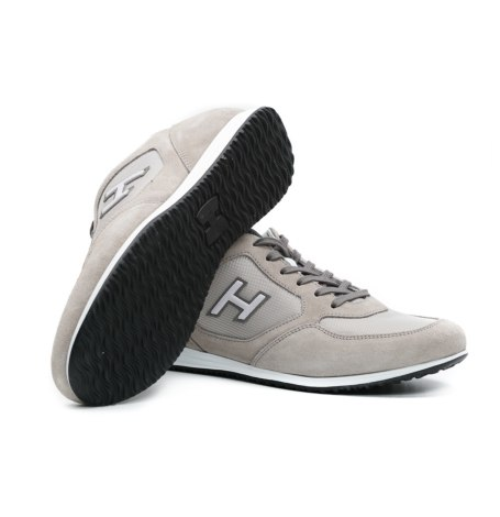 Calzado sport OLYMPIA color beige, combinación de serraje, loneta y apliques en piel. - Ítem1