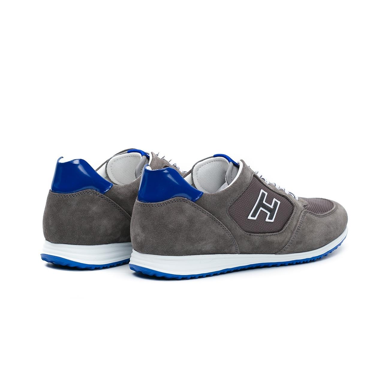 Calzado sport OLYMPIA color gris, combinación de serraje, loneta y apliques en piel. - Ítem2
