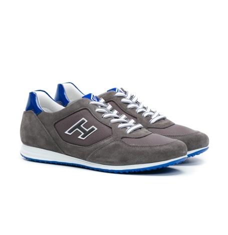 Calzado sport OLYMPIA color gris, combinación de serraje, loneta y apliques en piel. - Ítem3
