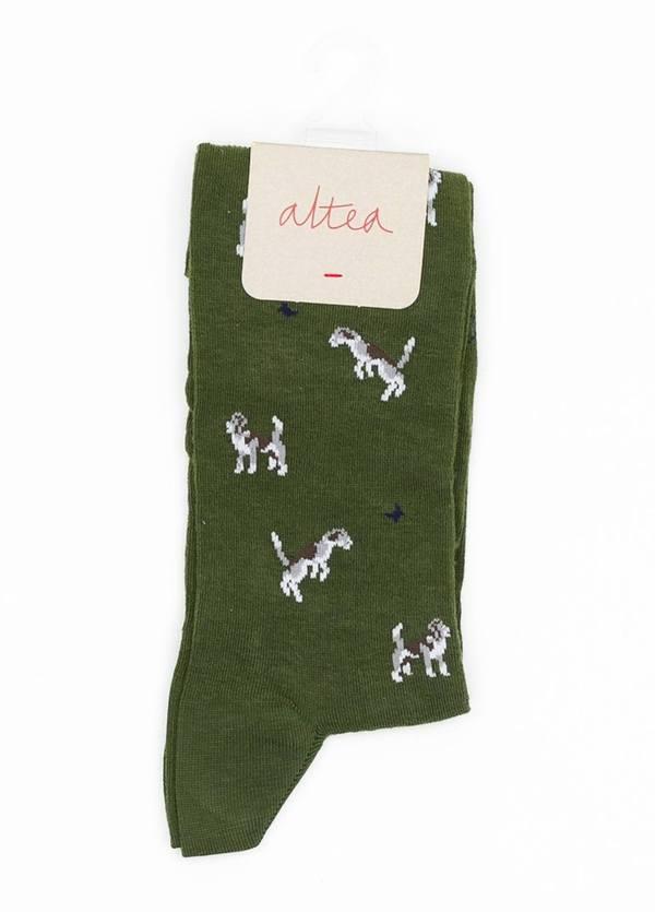Calcetín de algodón estampado fantasía, color verde.
