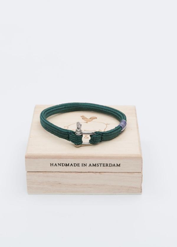 Pulsera de cuerda y grillete forjado de acero inoxidable, color verde. Hecho a mano, para toda la vida.