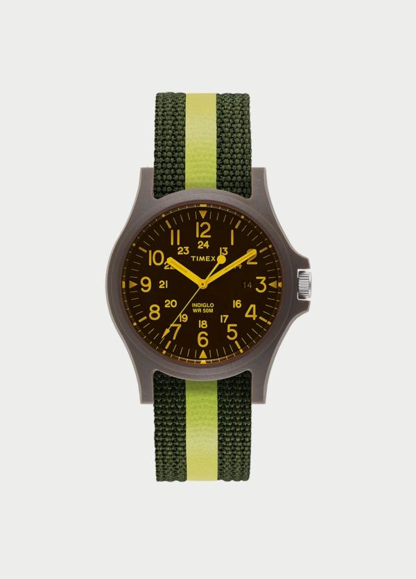 Caja Reloj Timex negro y amarillo. (La correa se vende por separado).