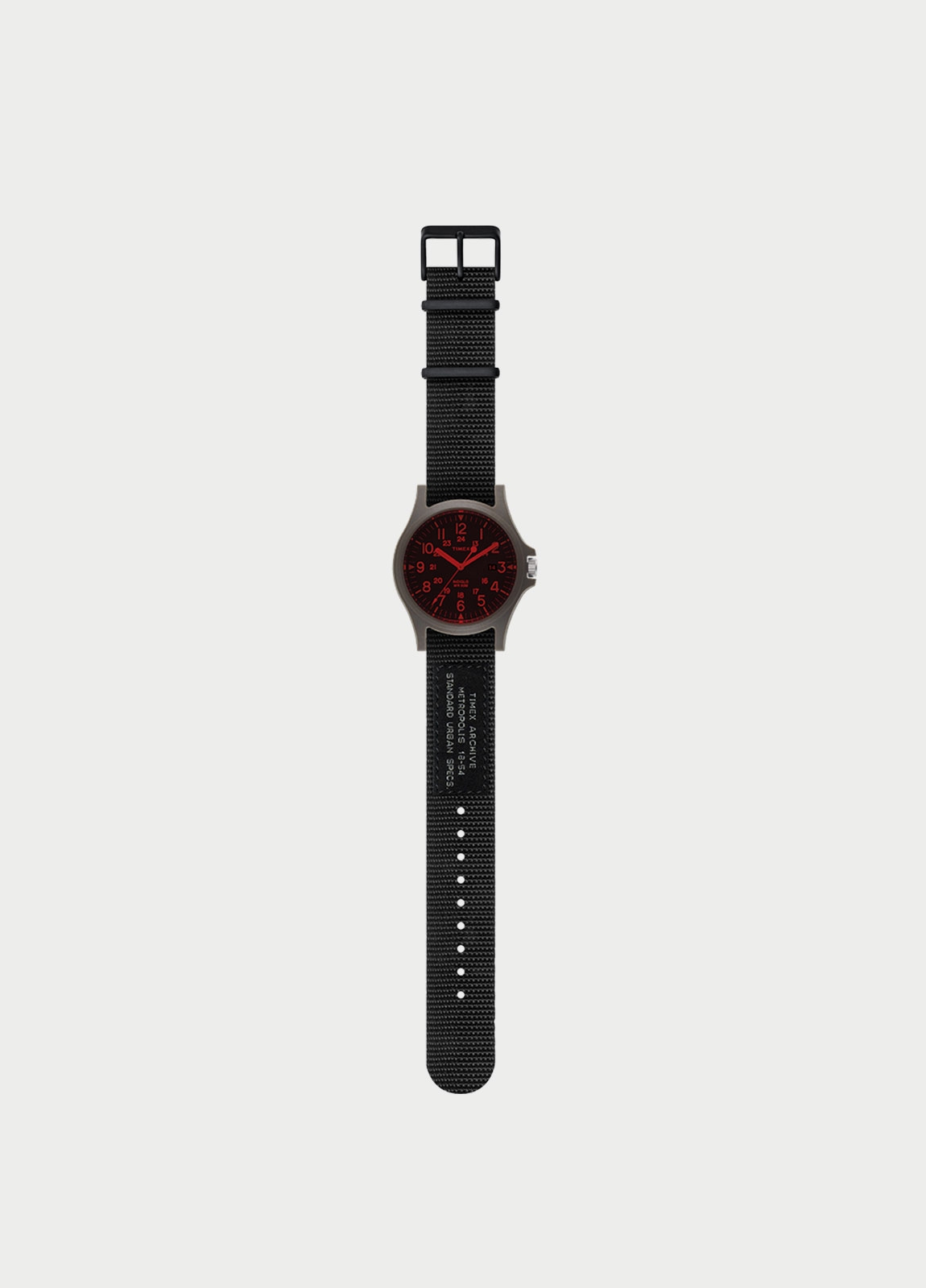 Correa de nylón Reloj TIMEX de 20 mm, color negro. (la caja reloj se vende por separado)