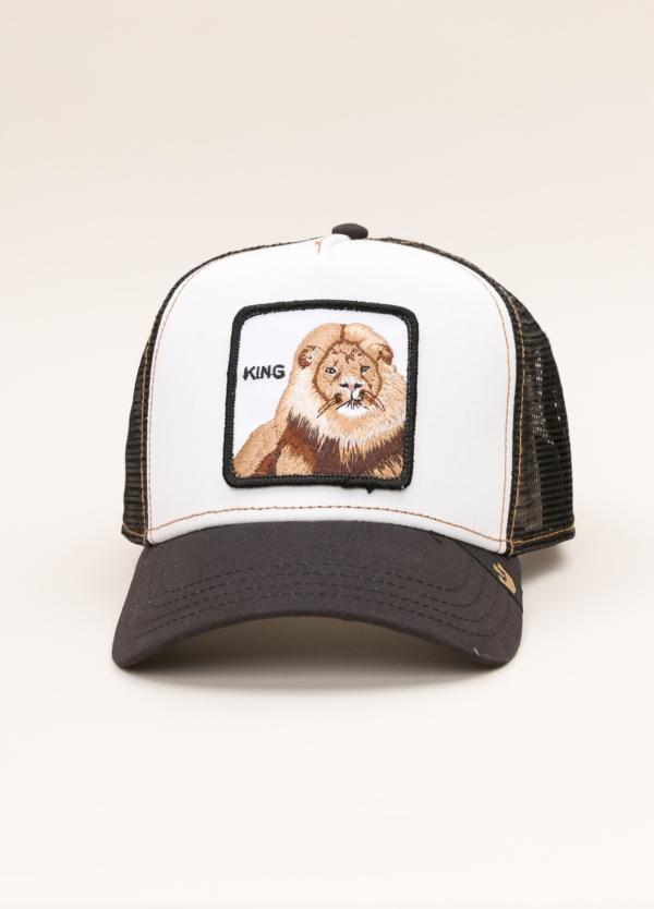 Gorra Trucker GOORIN BROS blanco dibujo leon