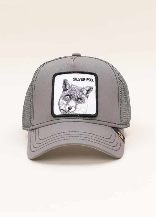Gorra Trucker GOORIN BROS gris dibujo lobo