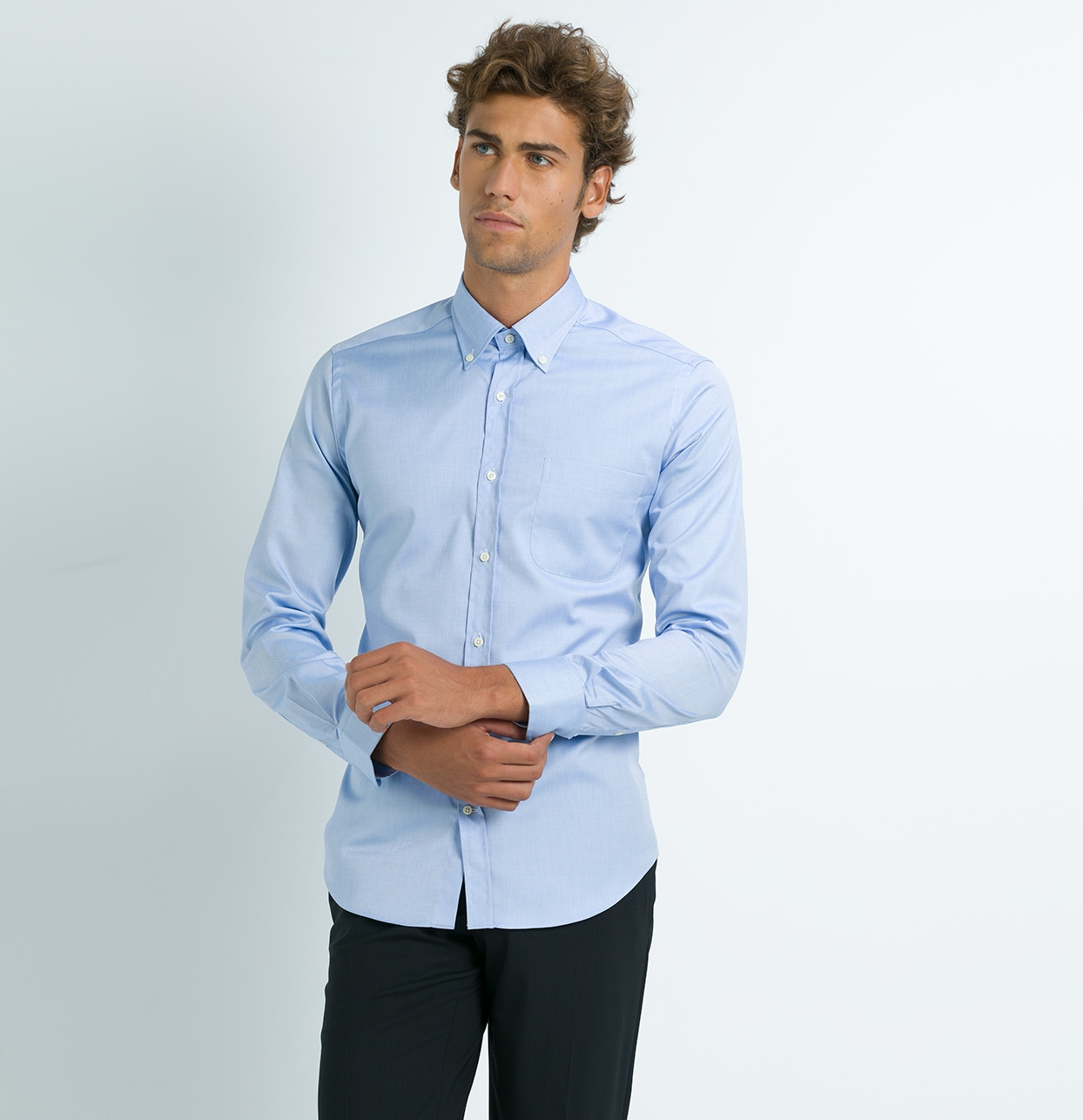 Camisa Formal Wear REGULAR FIT Modelo BOTTON DOWN Tejido micro cuadro color azul, 100% Algodón - Ítem3
