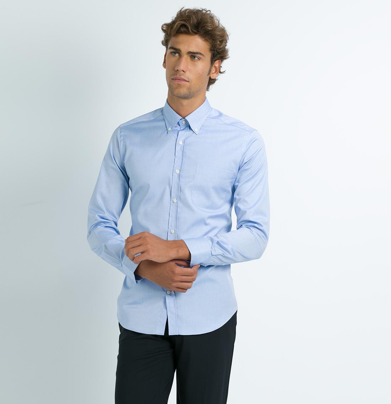 Camisa Formal Wear REGULAR FIT modelo BUTTON DOWN tejido rayas color azul,100% Algodón. - Ítem3