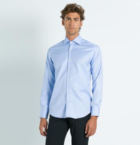 Camisa Formal Wear REGULAR FIT cuello Italiano, modelo NAPOLI tejido twill color azul, 100% Algodón. - Ítem3