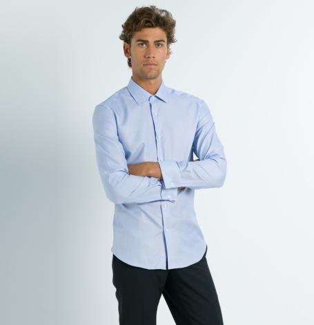 Camisa Formal Wear REGULAR FIT cuello Italiano y puño doble modelo ROMA Tejido micrograbado color azul, 100% Algodón. - Ítem3
