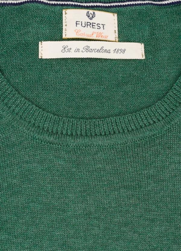 Jersey Casual Wear, SLIM FIT cuello redondo color verde, 100% algodón. - Ítem1