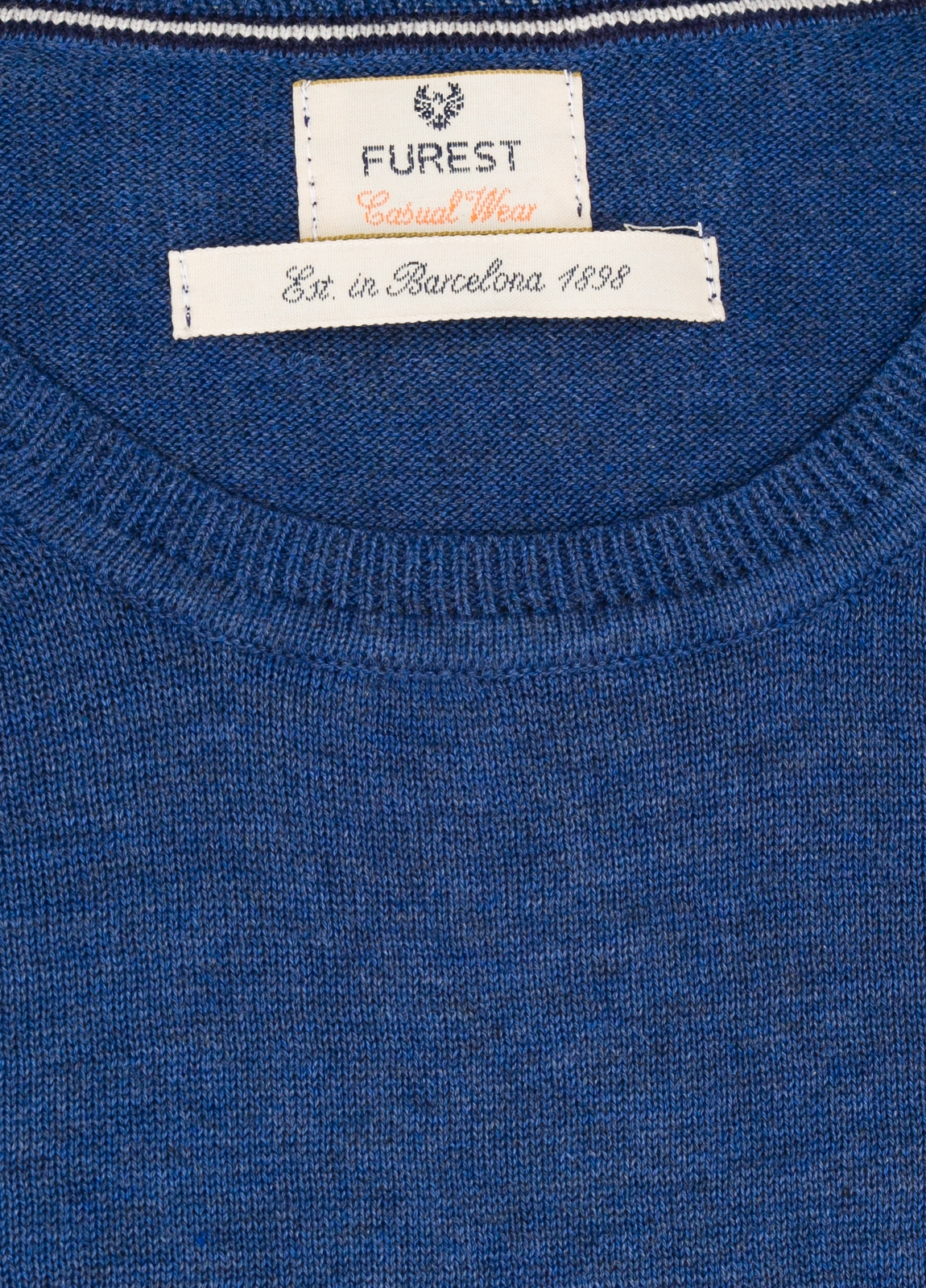Jersey Casual Wear, SLIM FIT cuello redondo color azul, 100% algodón. - Ítem1