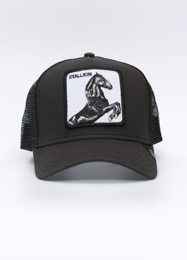 Gorra Trucker GOORIN BROS negro dibujo caballo.