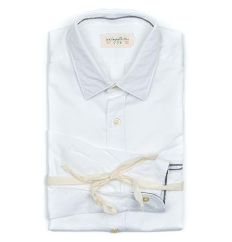 Camisa Sport micro textura color blanco, SLIM FIT, 100% Algodón.