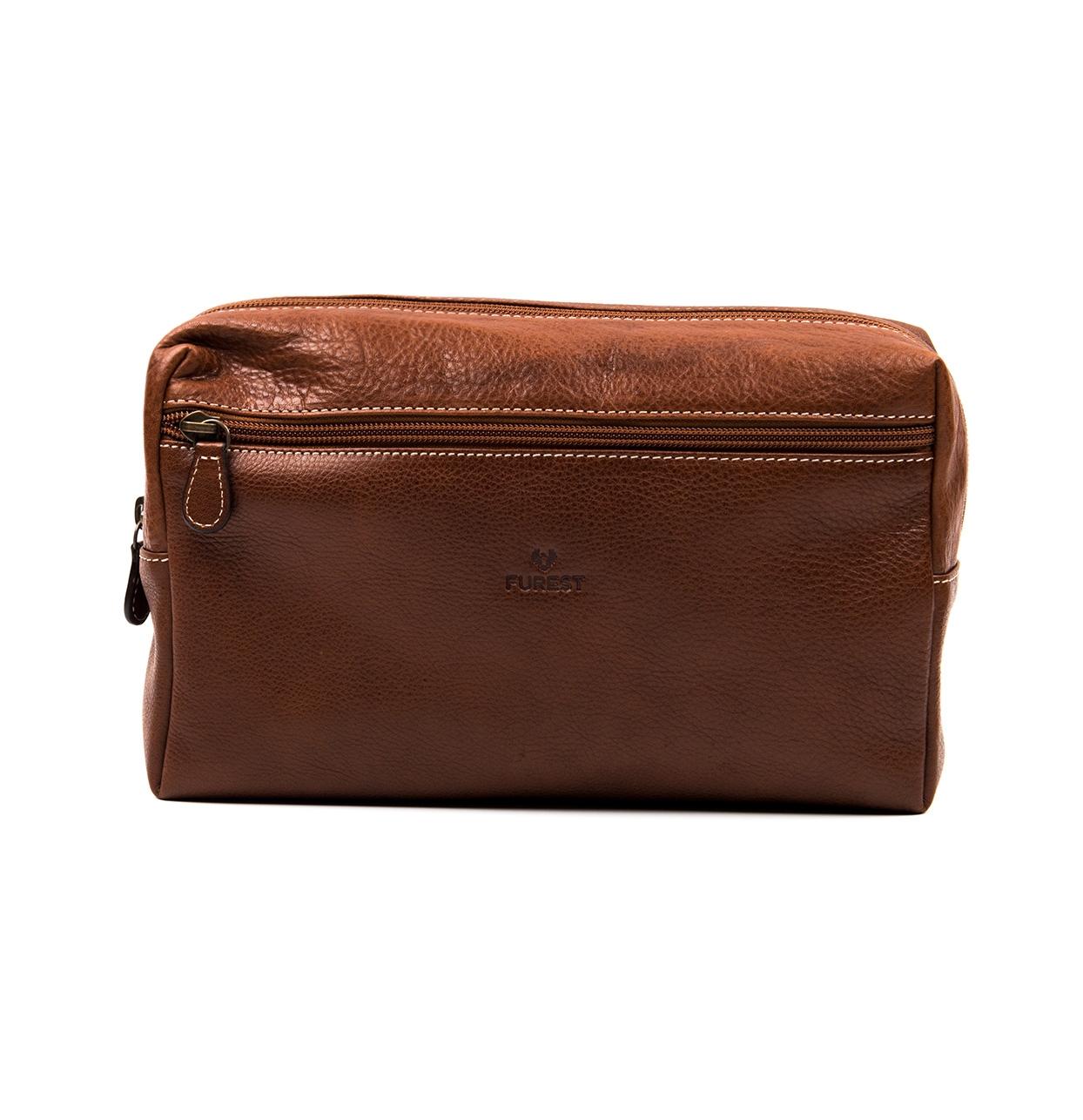 Neceser de piel color marrón natural, modelo TRAVIATA