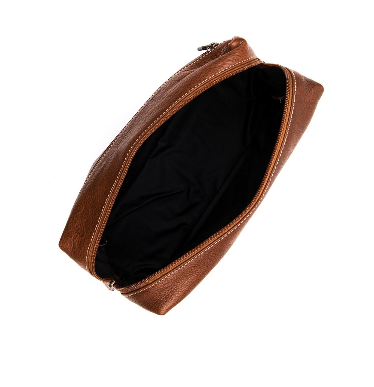 Neceser de piel color marrón natural, modelo TRAVIATA - Ítem1