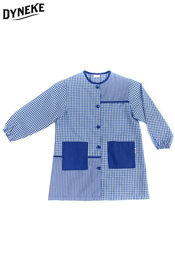 Bata infantil cuadro azul