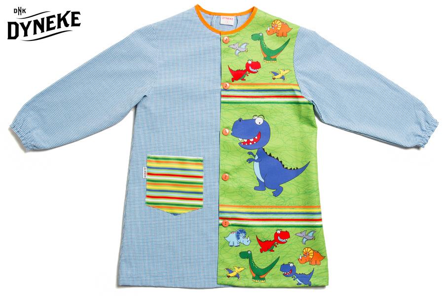 ecd80177324 Bata infantil rex. Bata escolar con dibujos dinosaurios. Batas y ...
