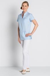 Health service blue tunic Mao collar
